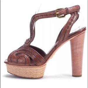 Prada Sz 10 Brown Platform Heels Wood Stacked Heel